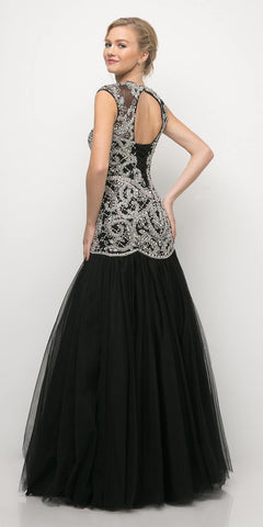 Cinderella Divine UM072 Floor Length Beaded Novelty Black Ball Gown Cap Sleeves