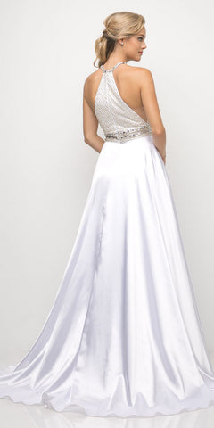 Cinderella Divine UM076 Long Beaded Halter A-Line White Dress Flowy Charmeuse Skirt Leg Slit
