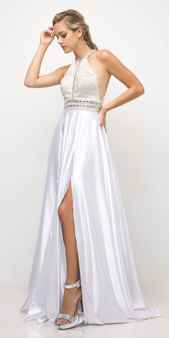 Long Embroidered Lace Ball Gown Dress White With Arm Band