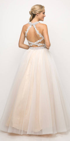 Cinderella Divine UM078 Long Two Piece Ball Gown Champagne Lace Beaded Top Criss Cross Back