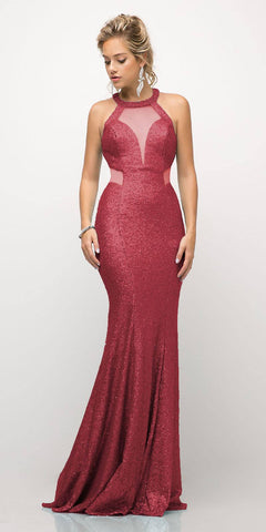 Cinderella Divine UR133 Long Sequin Sheath Dress Burgundy Sheer Side Cut Out Form Fitting