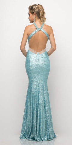 Cinderella Divine UR133 Long Sequin Sheath Dress Powder Blue Sheer Side Cut Out Form Fitting