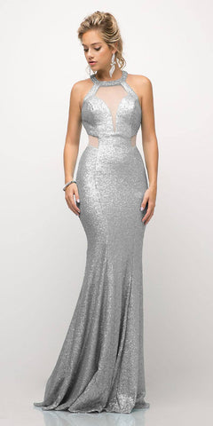 Cinderella Divine UR133 Long Sequin Sheath Dress Silver Sheer Side Cut Out Form Fitting