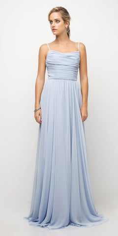 Cinderella Divine UR136 Chiffon Empire Waist A-Line Bridesmaid Dress Baby Blue Spaghetti Straps