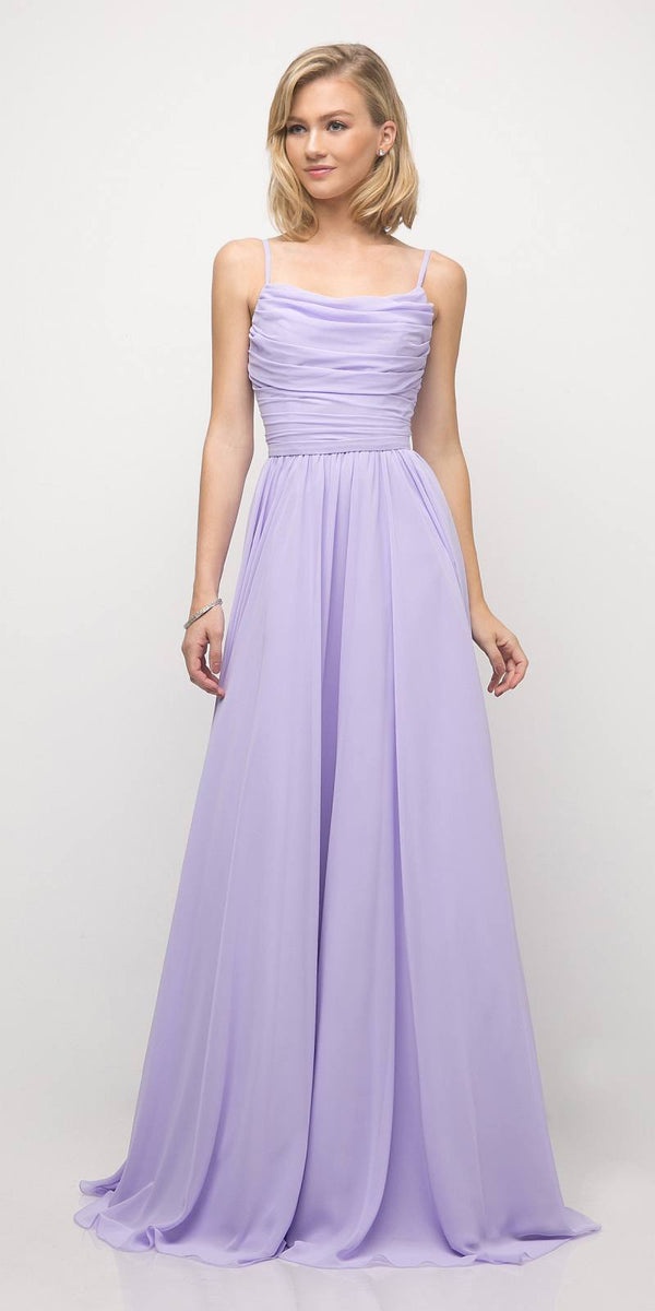 4631cef3cb38 Chiffon Empire Waist A-Line Bridesmaid Dress Lavender Spaghetti Straps