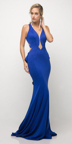 Cinderella Divine UR137 Floor Length Royal Blue Sheath Gown Deep V Neckline Peplum Back