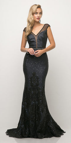 Cinderella Divine UR138 Floor Length Beaded Lace Mermaid Gown Navy Blue V-Neck