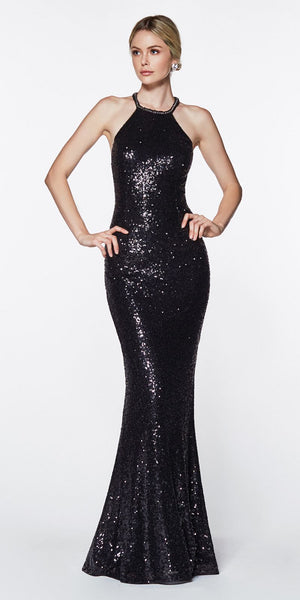 Cinderella Divine UR139 Fitted Halter Sequin Gown Black Long Illusion Sides Strappy Back