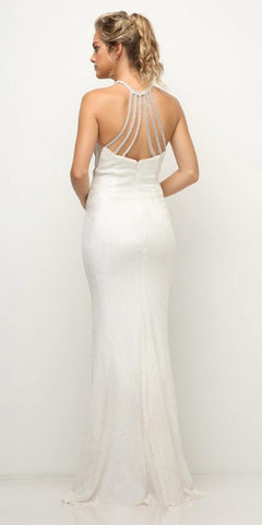 Cinderella Divine UR139 Fitted Halter Sequin Gown Cream Long Illusion Sides Strappy Back