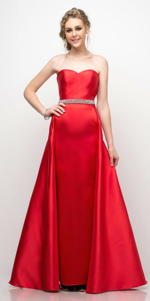 Cinderella Divine UT253 Strapless Mikado Gown Red Sheath Underskirt And Ballgown Overskirt
