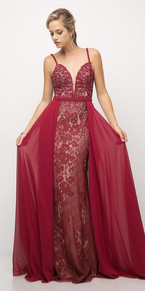 Cinderella Divine UT254 Long Lace Sheath Dress Burgundy Chiffon Overlay V Neck