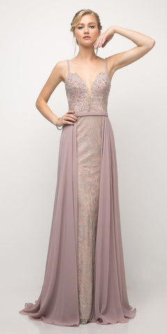 Mocha Cap Sleeved Long Formal Dress Appliqued Bodice