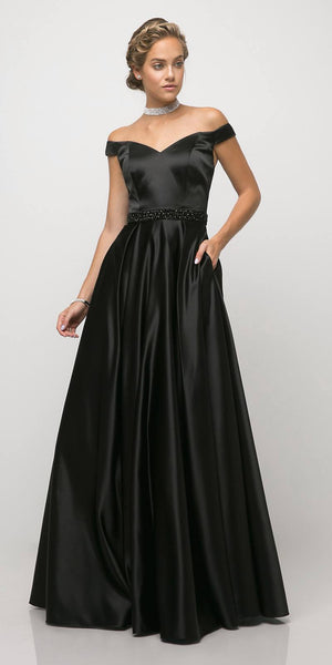 Cinderella Divine UT257 Off The Shoulder Satin Ball Gown Black Beaded Belt And Pockets