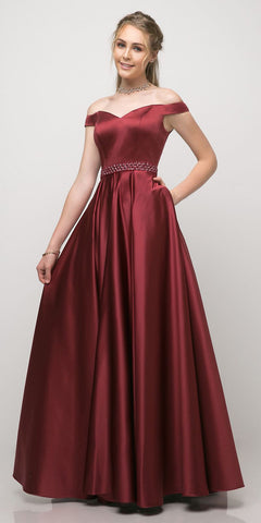 Cinderella Divine UT257 Off The Shoulder Satin Ball Gown Burgundy Beaded Belt And Pockets