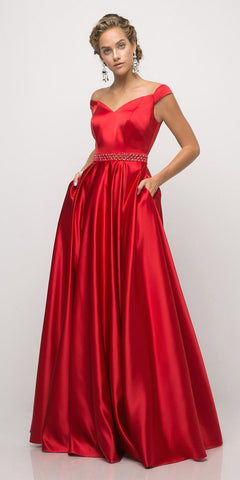 Off The Shoulder Fitted Beaded Gown Red Lace Applique