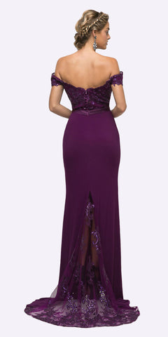 Cinderella Divine UV001 Off the Shoulder Long Plum Gown Mermaid Lace Bodice
