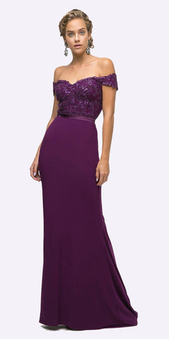 CLEARANCE - Juliet 786 Ruched V-Neck Cocktail Dress Embellished Waist Purple (Size 2XL)