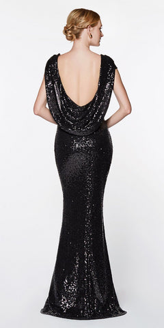Cinderella Divine UV003 Floor Length Sheath Sequin Dress Black Scoop Open Back