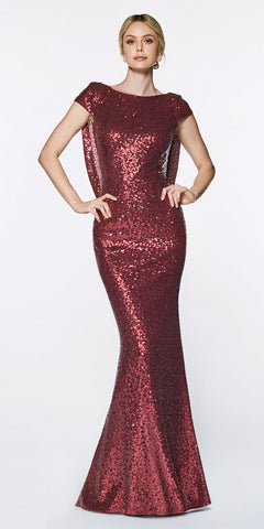 Cinderella Divine UV003 Floor Length Sheath Sequin Dress Burgundy Scoop Open Back