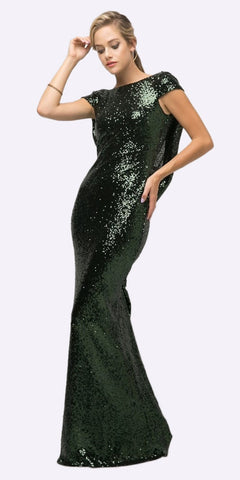 Cinderella Divine UV003 Floor Length Sheath Sequin Dress Hunter Green Scoop Open Back