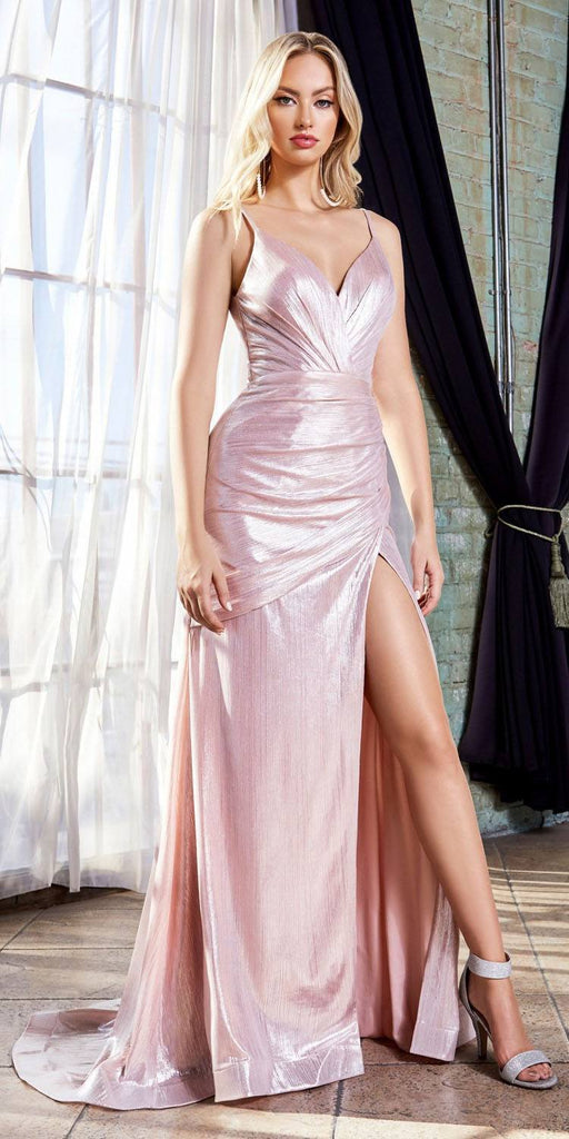 Cinderella Divine UV007 Long Fitted Metallic Gown Blush Sexy High Leg Slit And Pleated Bodice
