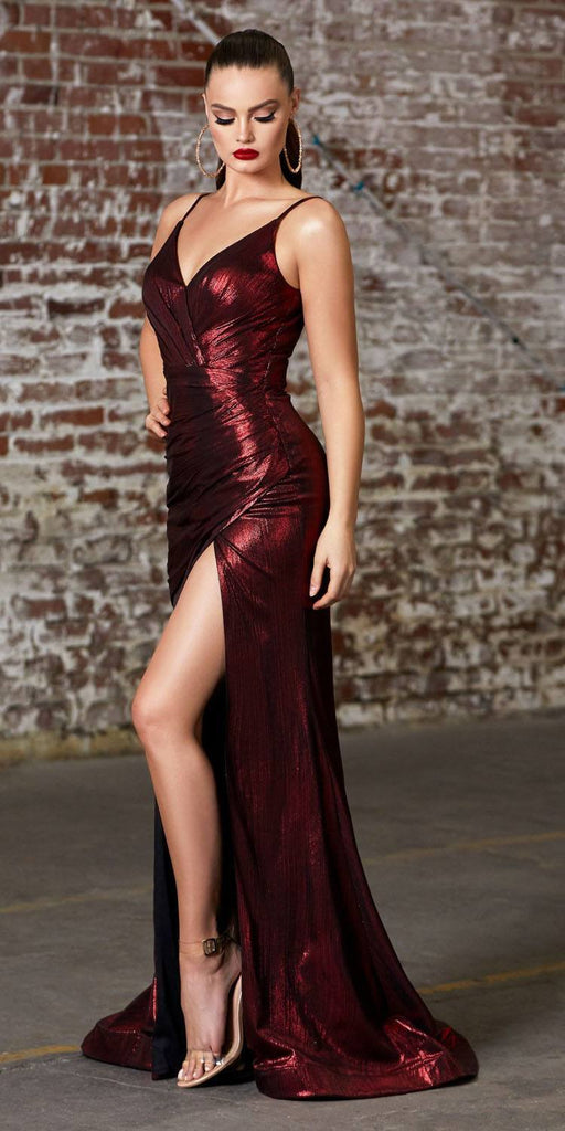 Cinderella Divine UV007 Long Fitted Metallic Gown Burgundy Sexy High Leg Slit And Pleated Bodice