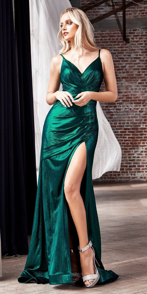 Cinderella Divine UV007 Long Fitted Metallic Gown Emerald Green Sexy High Leg Slit And Pleated Bodice