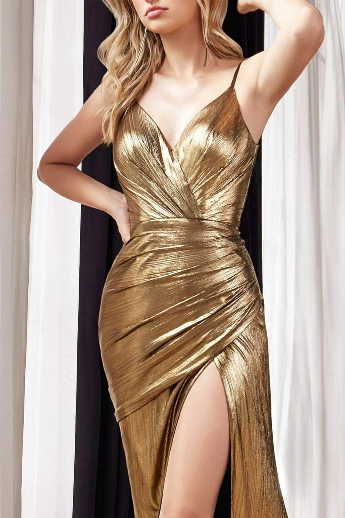 Cinderella Divine UV007 Long Fitted Metallic Gown Gold Sexy High Leg Slit And Pleated Bodice