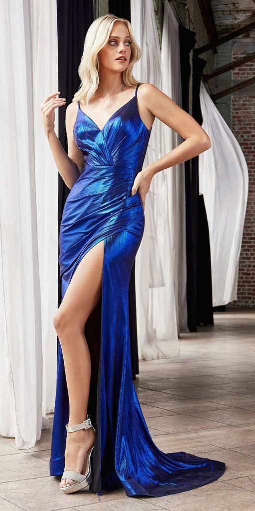 Cinderella Divine UV007 Long Fitted Metallic Gown Royal Blue Sexy High Leg Slit And Pleated Bodice