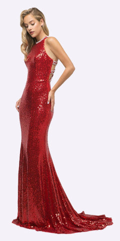 Full Length Beaded Sequins Mermaid Prom Dress Red