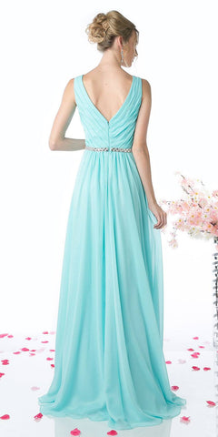 Cinderella Divine W0014 Floor Length Aqua Gown Sleeveless Pleated with Belt Back View