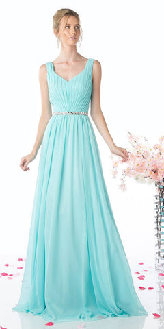Cinderella Divine W0014 Floor Length Aqua Gown Sleeveless Pleated with Belt