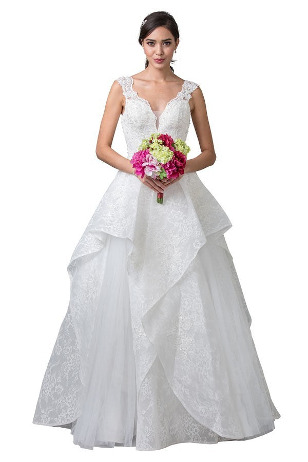 Off-White Sleeveless Tiered Long Wedding Dress