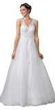 Off White V-Neck Long Wedding Dress Sleeveless