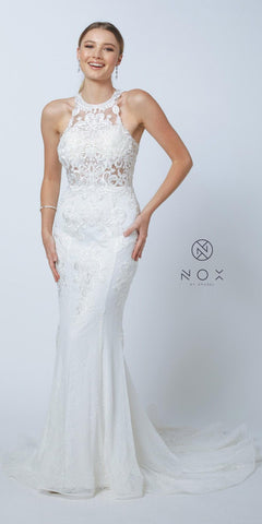 High-Neck Lace Appliqued Long Wedding Dress with Train