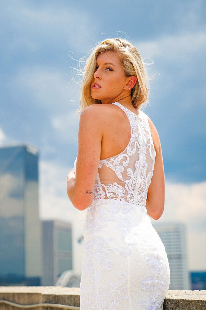 Nox Anabel W901 High-Neck Lace Appliqued Long Wedding Dress with Train