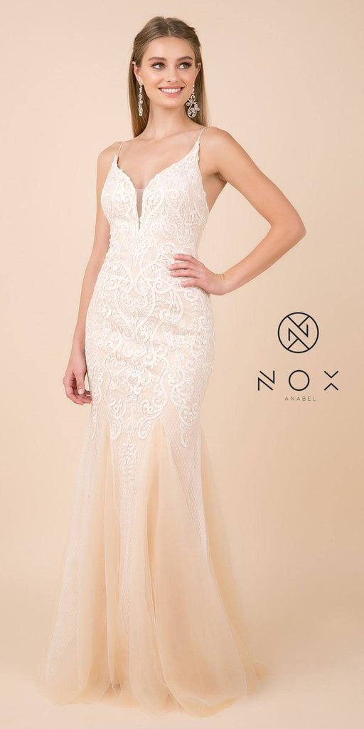 White/Nude Mermaid Long Prom Dress with Spaghetti Strap