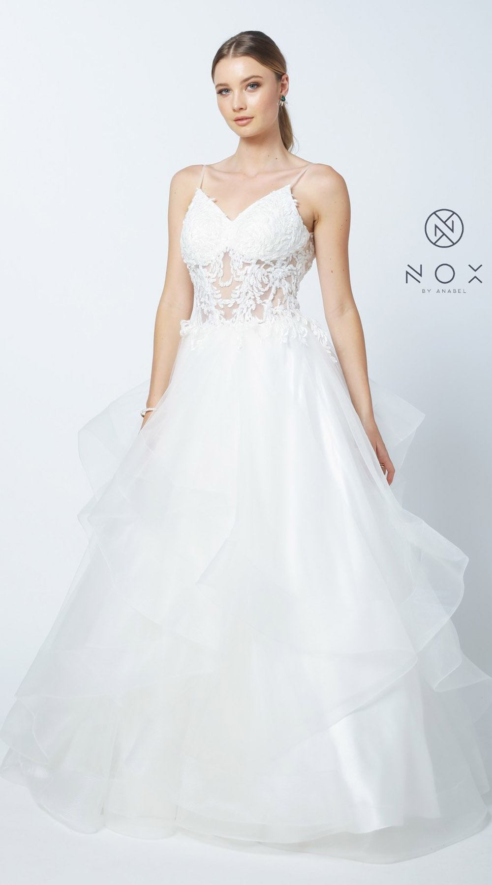 Nox Anabel W904 White Tiered Plus Size Wedding Gown with Spaghetti ...