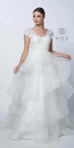White Cap Sleeved Tiered Wedding Gown V-Neck