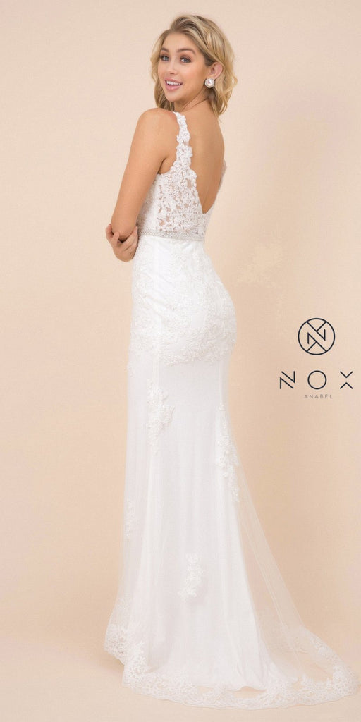 Nox Anabel W907 Long White Lace Formal Fitted Sheath Gown Small Train