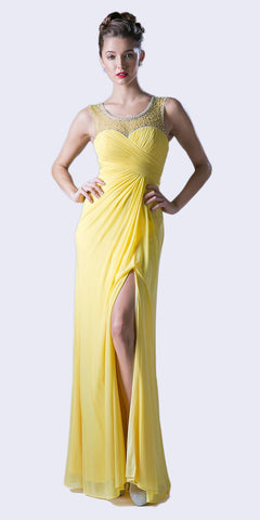 Yellow Illusion Ruched Bodice Long Prom Dress with Slit