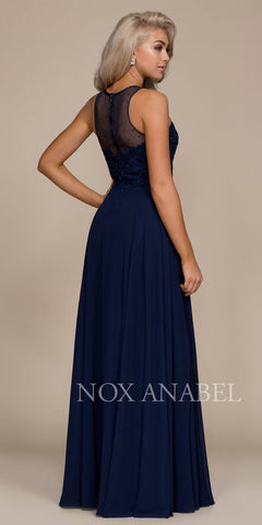 Navy Blue Illusion Appliqued Bodice A-line Long Formal Dress