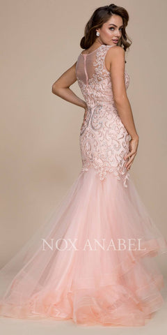 Blush Illusion Mermaid Tiered Prom Gown with Train
