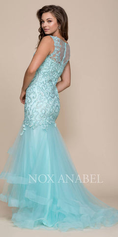 Mint Green Illusion Mermaid Tiered Prom Gown with Train