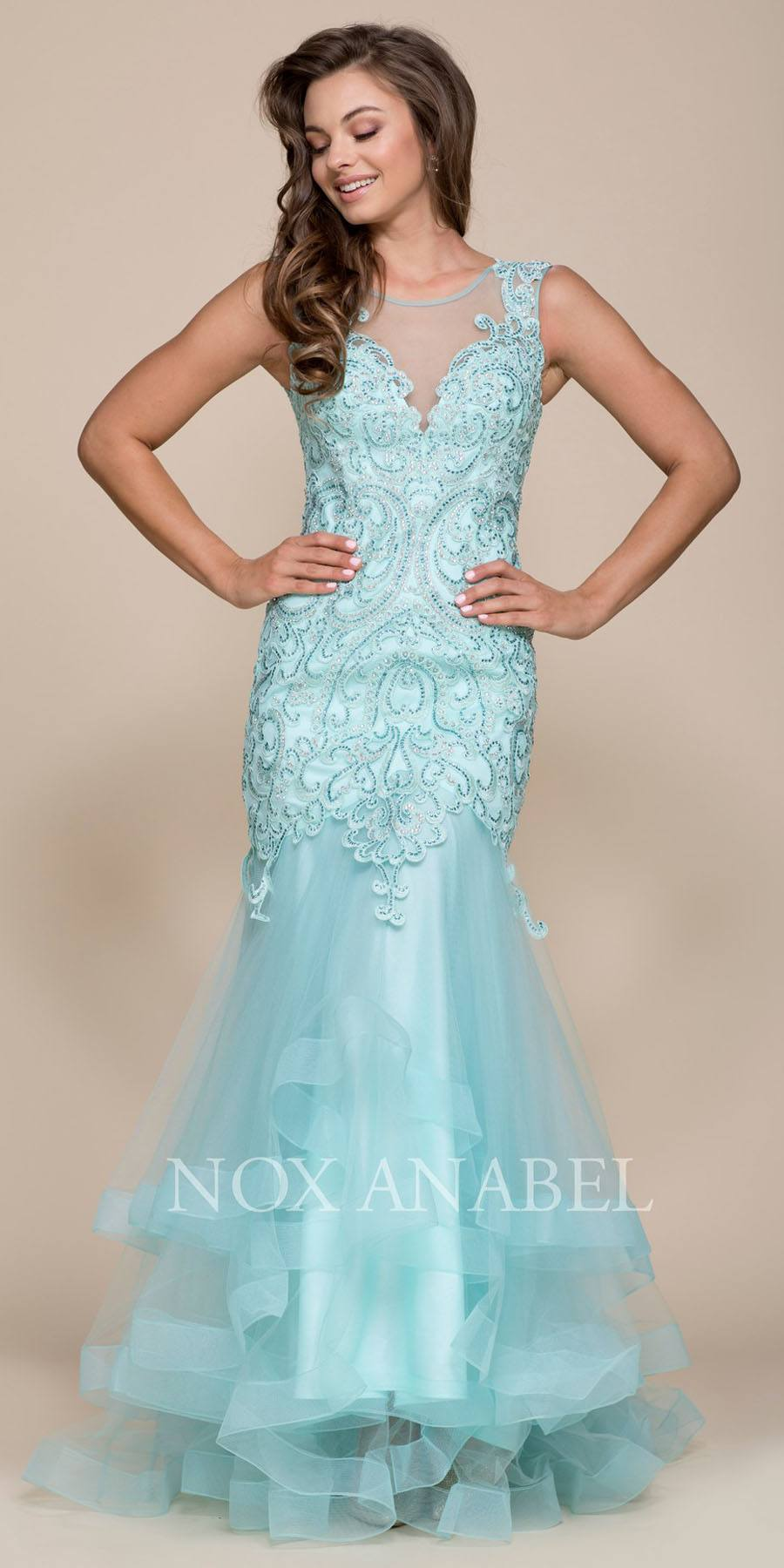 Nox Anabel Y021 Mint Green Illusion Mermaid Tiered Prom Gown with ...