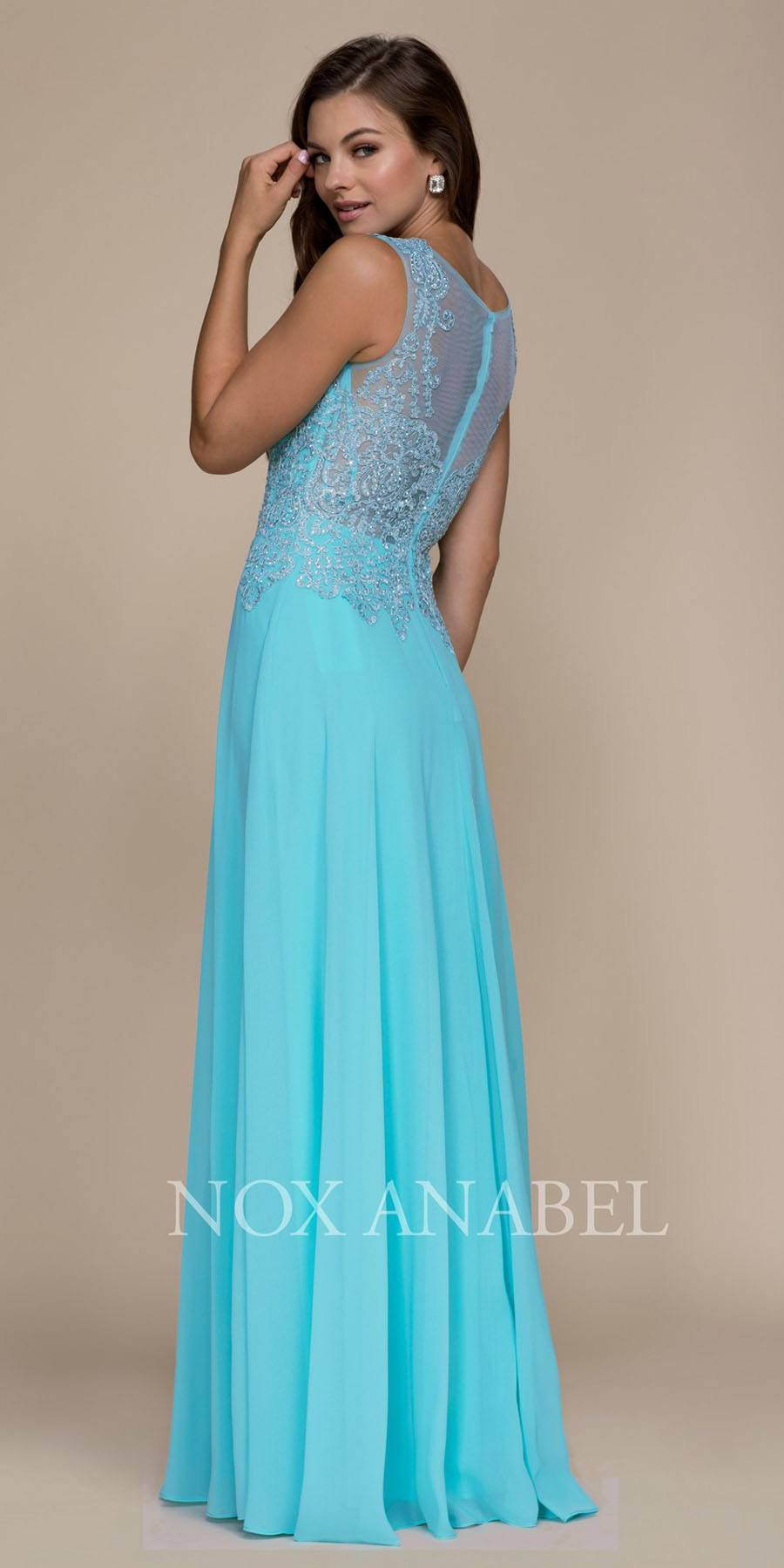 Nox Anabel Y100 Sleeveless Long Formal Dress Embroidered Bodice Navy ...
