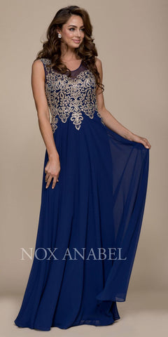 Sleeveless Long Formal Dress Embroidered Bodice Navy Blue-Gold