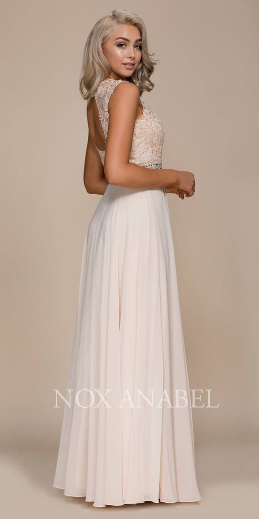 Nox Anabel Y101 Champagne A-line Long Formal Dress Lace Bodice Keyhole Back