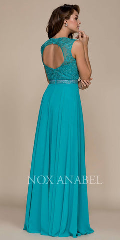 Nox Anabel Y101 Jade A-line Long Formal Dress Lace Bodice Keyhole Back