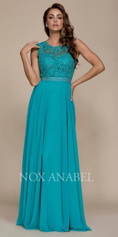 Jade A-line Long Formal Dress Lace Bodice Keyhole Back